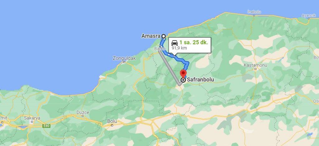 Amasra Safranbolu Arası Kaç KM