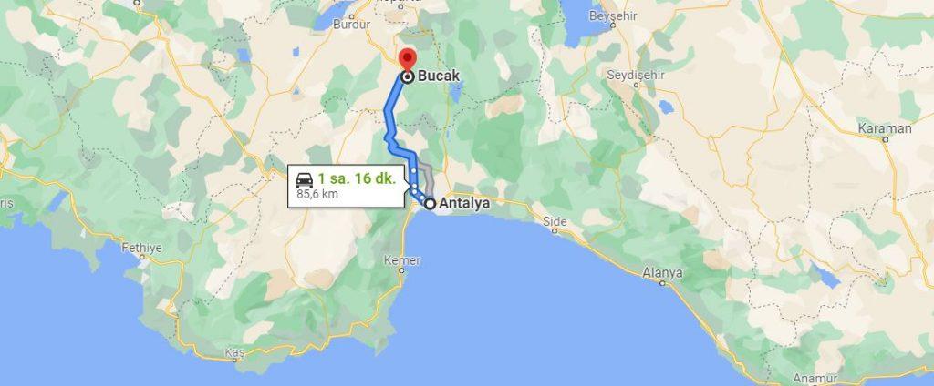 Antalya Bucak Arası Kaç KM