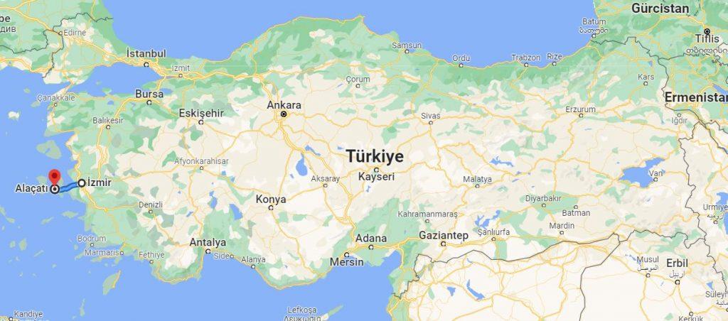 İzmir Alaçatı Arası Kaç KM