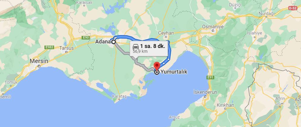 Adana Yumurtalık Arası Kaç KM