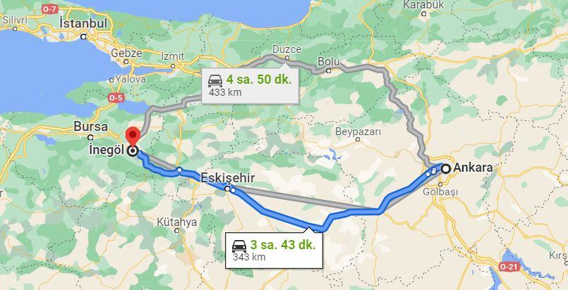 Ankara İnegöl Arası Kaç KM