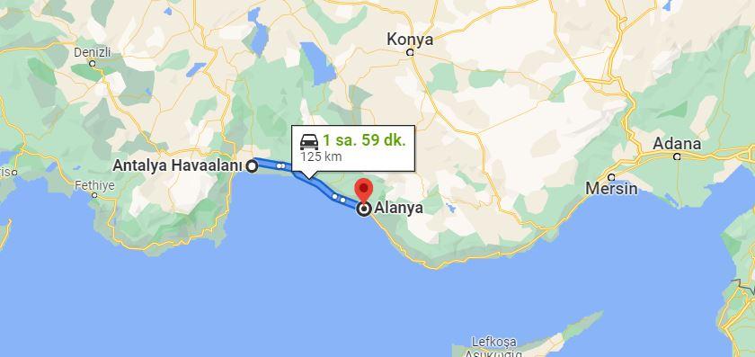 Antalya Havalimanı Alanya Arası Kaç KM