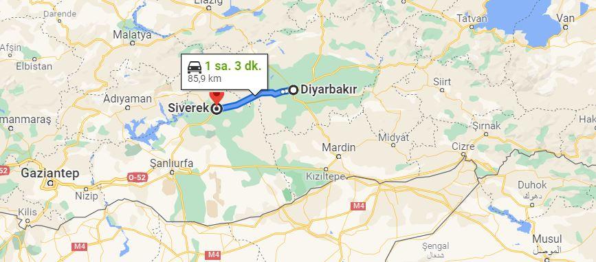 Diyarbakır Siverek Arası Kaç KM