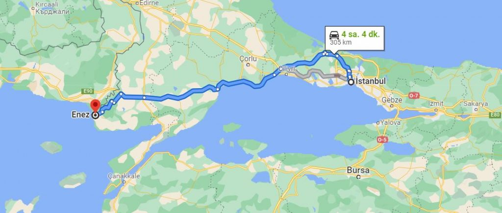 İstanbul Enez Arası Kaç KM