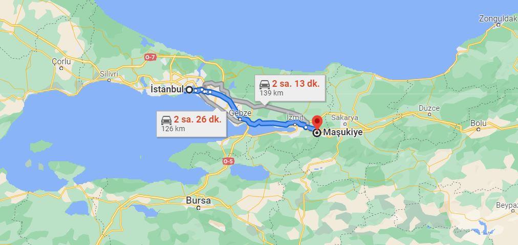 İstanbul Maşukiye Arası Kaç KM