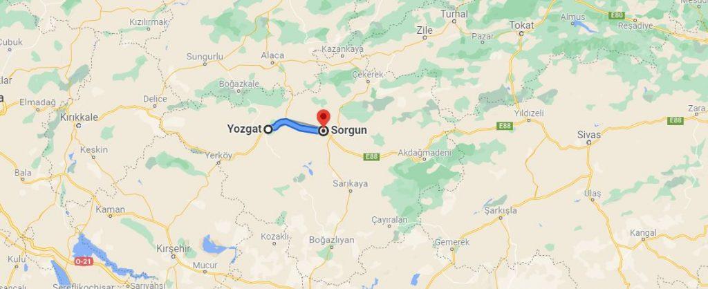 Yozgat Sorgun Arası Kaç KM