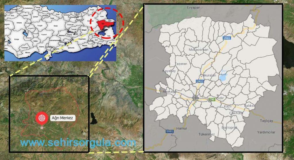 Ağrı Merkez Mahalle Haritası